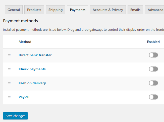 payment tab