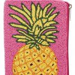pink beaded handbag with yellow pineapple